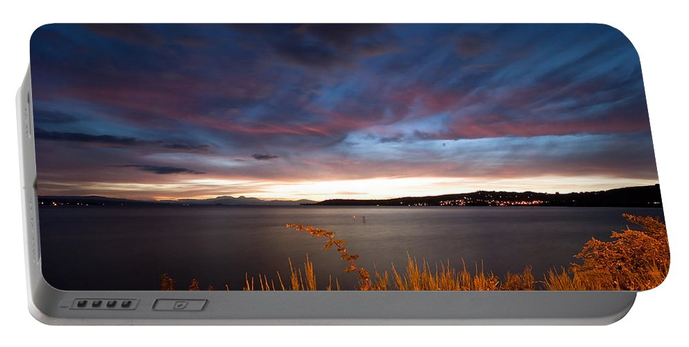 Beautiful Portable Battery Charger featuring the photograph Lake Taupo Sunset by Marc Garrido