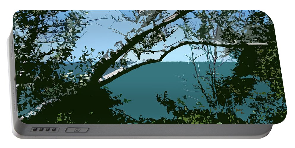 Birch Trees Portable Battery Charger featuring the photograph Lake Through The Trees by Michelle Calkins