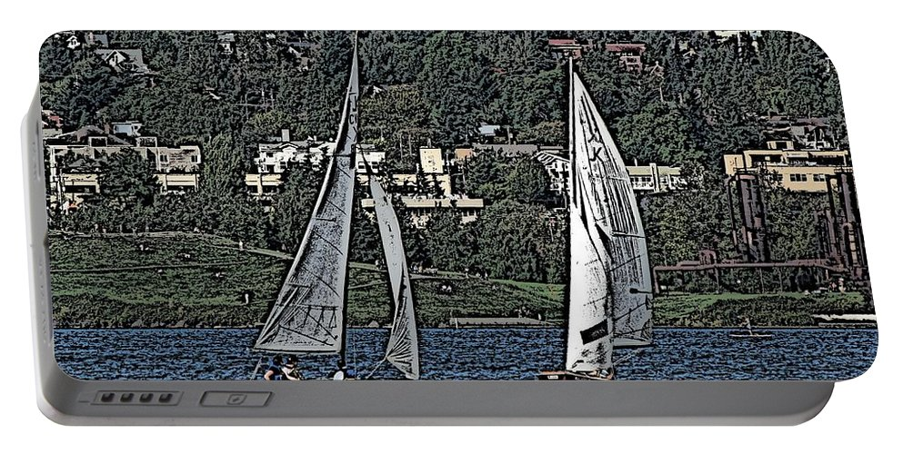 Sail Portable Battery Charger featuring the digital art Lake Union Regatta by Tim Allen