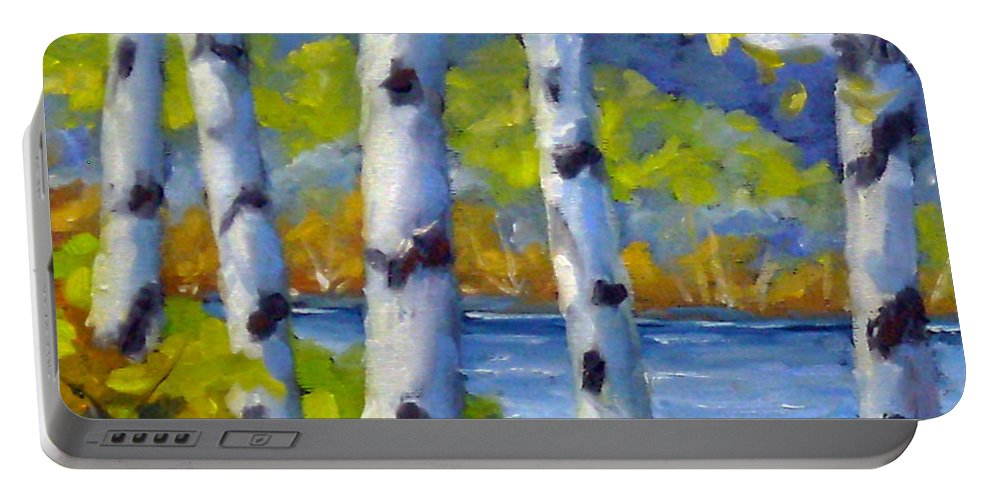 Original Painting;oil; Landscape; Birches; Trees; Nature; Richard T Pranke; Lake Portable Battery Charger featuring the painting Lake View by Richard T Pranke