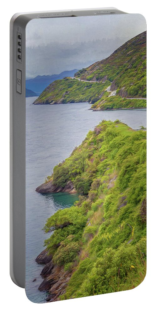Joan Carroll Portable Battery Charger featuring the photograph Lake Wakatipu New Zealand Painterly by Joan Carroll
