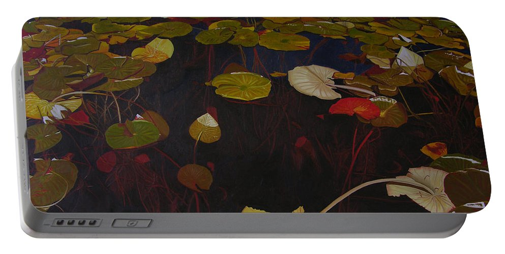 Water Portable Battery Charger featuring the painting Lake Washington Lilypad 7 by Thu Nguyen