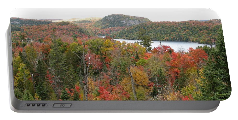 Fall Portable Battery Charger featuring the photograph Lakeside by Kelly Mezzapelle
