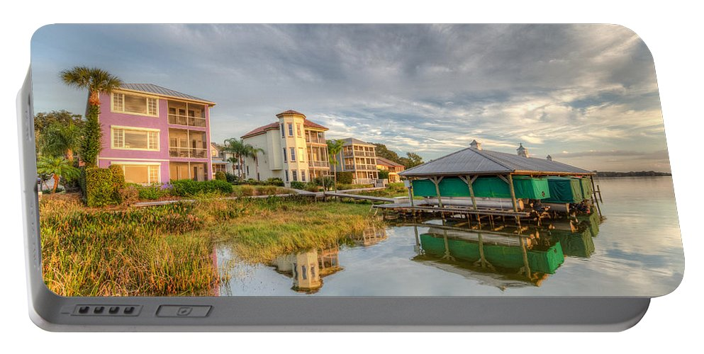 Lake Portable Battery Charger featuring the photograph Lakeside Reflections by Ronald Kotinsky