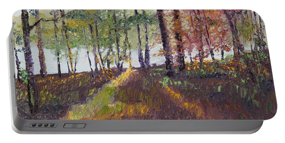 Landscape Portable Battery Charger featuring the painting Lakeside Shadows by Lea Novak