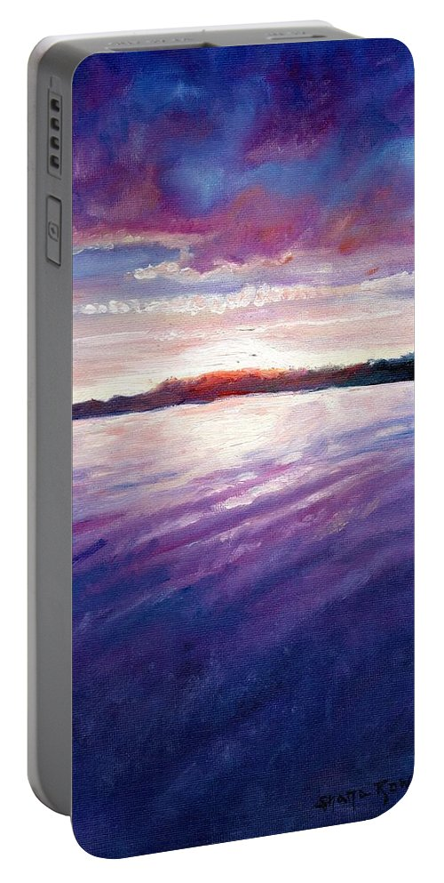 Lake Portable Battery Charger featuring the painting Lakeside Sunset by Shana Rowe Jackson