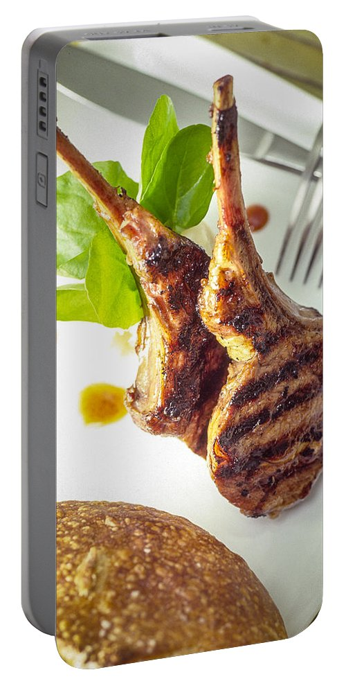Two Lamb Chops Portable Battery Charger featuring the photograph Lamb Chop 4 by Mike Penney
