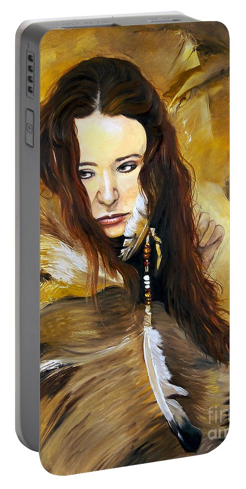 Southwest Art Portable Battery Charger featuring the painting Lament by J W Baker