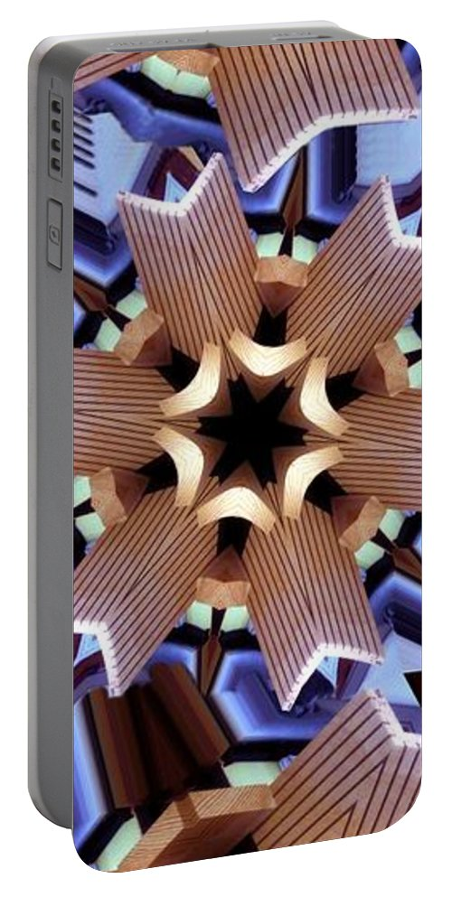 Abstract Portable Battery Charger featuring the digital art Laminated Fans by Ron Bissett