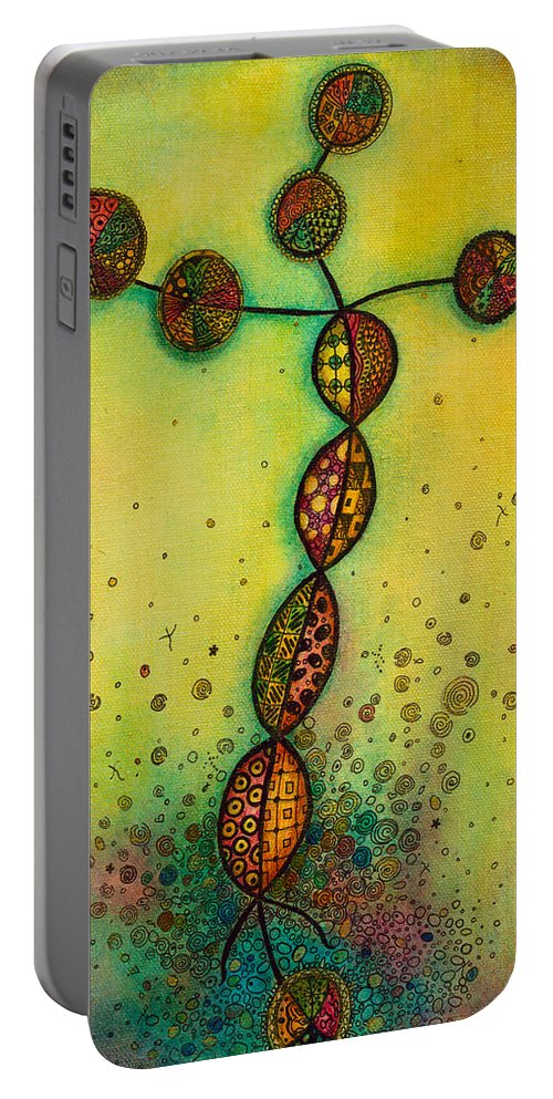 Laminin Portable Battery Charger featuring the painting Laminin by Margarita Puckett