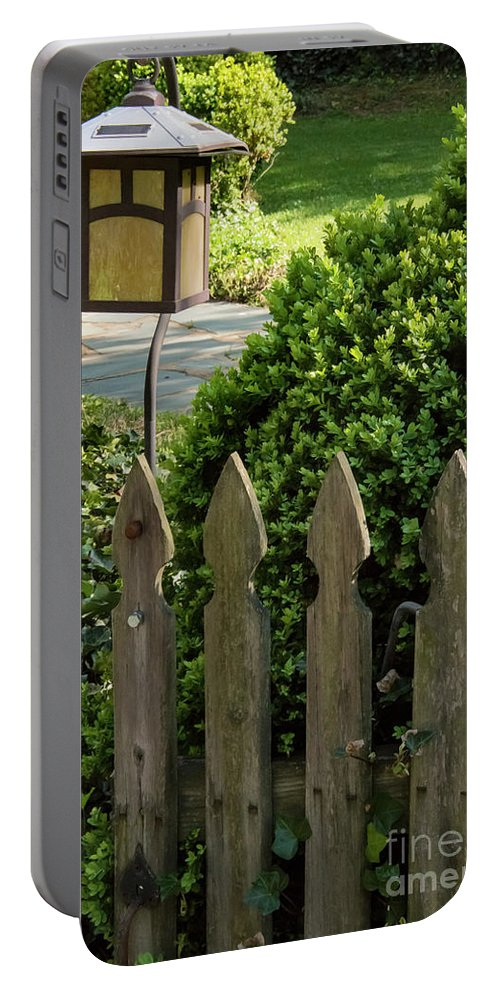 Roanoke Virginia Lamp Lamps Picket Fence Gate Gates Fences City Cities Cityscape Cityscapes Odds And Ends Portable Battery Charger featuring the photograph Lamp And Gate by Bob Phillips