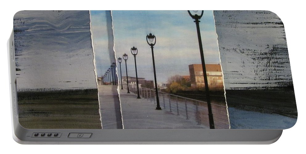 Lamp Post Portable Battery Charger featuring the mixed media Lamp Post Row Layered by Anita Burgermeister