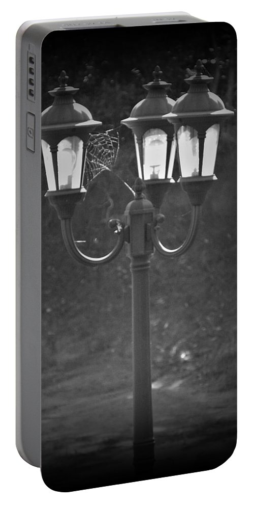 Black And White Portable Battery Charger featuring the photograph Lamppost by Steve Cochran