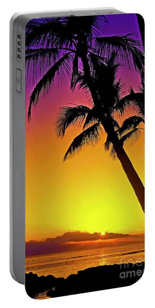 Sunset Portable Battery Charger featuring the photograph Lanai Sunset II Maui Hawaii by Jim Cazel