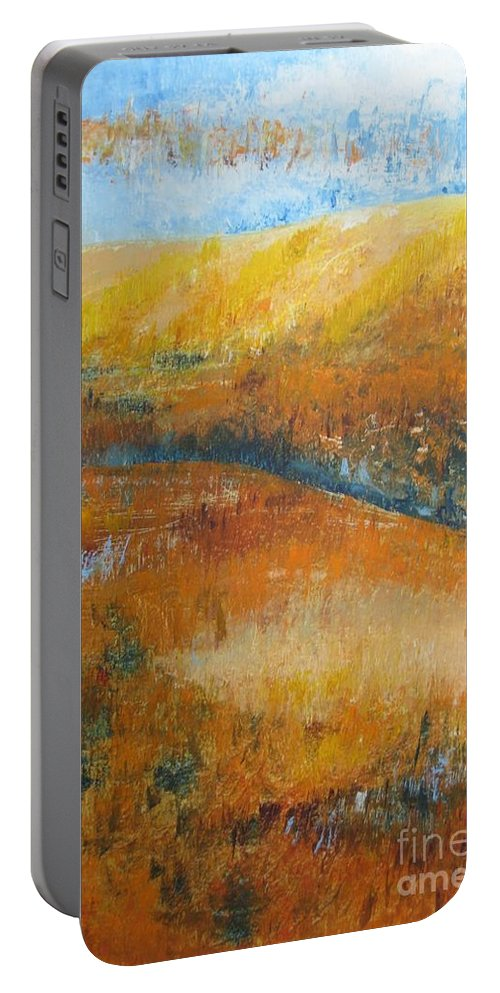 Landscape Portable Battery Charger featuring the painting Land Of Richness by Stella Velka