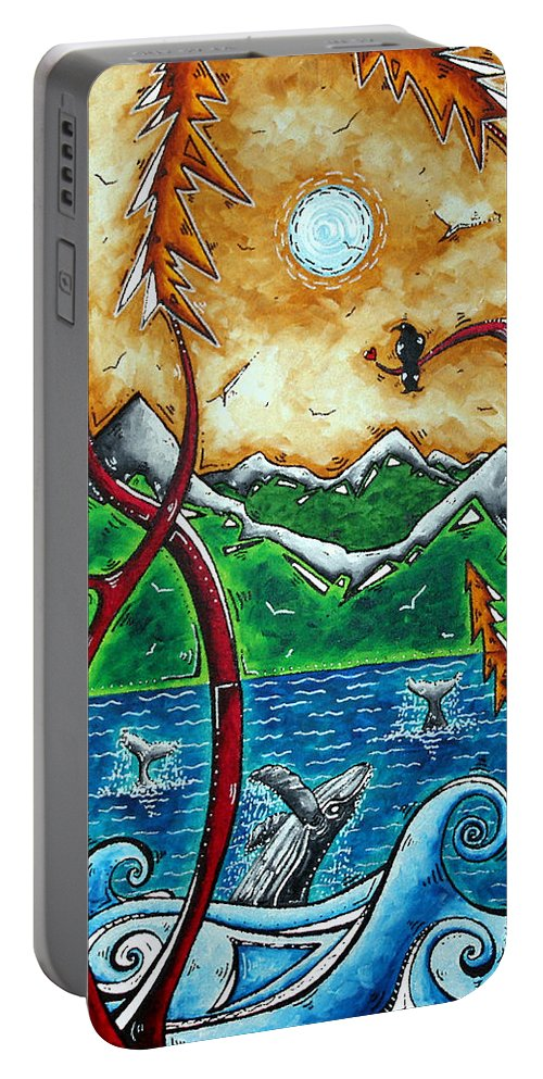 Art Portable Battery Charger featuring the painting Land Of The Free Original Madart Painting by Megan Duncanson