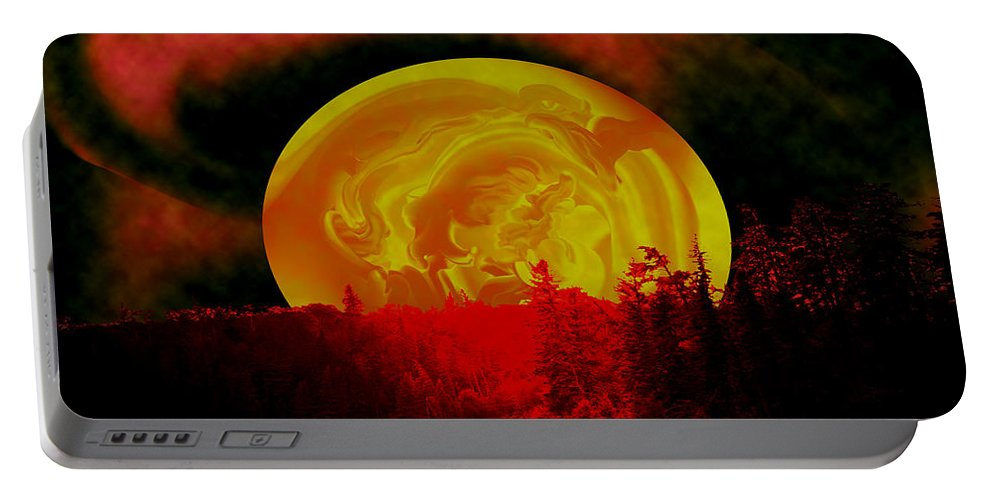 Moon Portable Battery Charger featuring the photograph Land Of The Living Skies by Andrea Lawrence