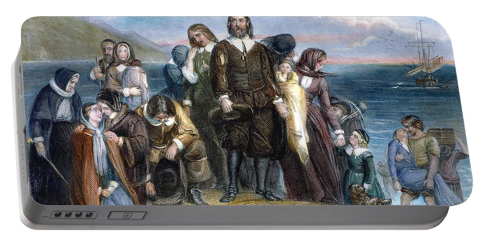 1620 Portable Battery Charger featuring the photograph Landing Of Pilgrims, 1620 by Granger
