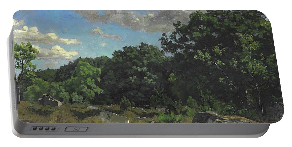 Landscape At Chailly Portable Battery Charger featuring the painting Landscape At Chailly by Jean Frederic Bazille