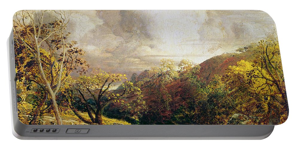 Landscape Portable Battery Charger featuring the painting Landscape Figures And Cattle by Samuel Palmer