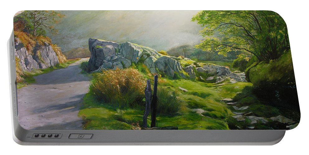 Landscape Portable Battery Charger featuring the painting Landscape In Wales by Harry Robertson