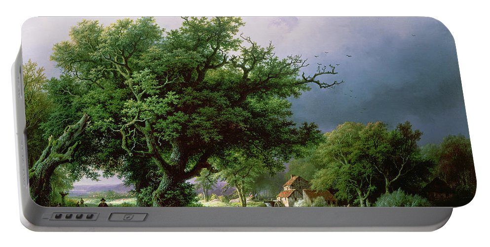 Landscape Portable Battery Charger featuring the painting Landscape With A Mill by Barend Cornelis Koekkoek