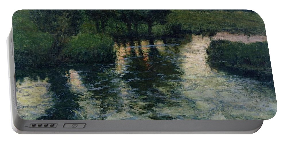 Landscape With A River By Thaulow Portable Battery Charger featuring the painting Landscape With A River by Fritz Thaulow