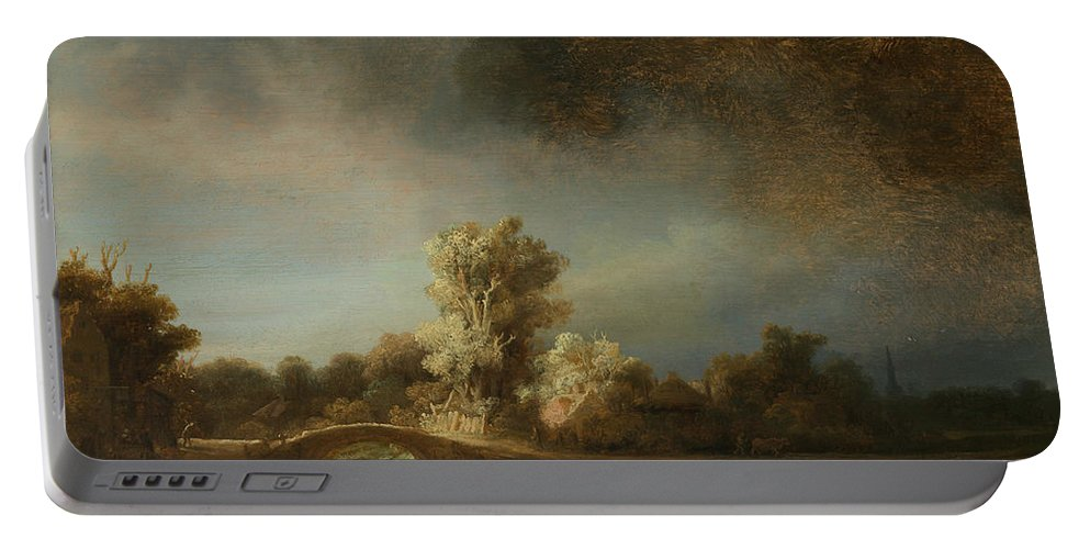 Rembrandt Portable Battery Charger featuring the painting Landscape With A Stone Bridge by Rembrandt