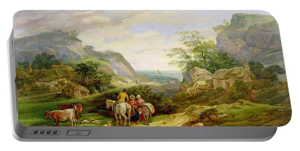 Landscape Portable Battery Charger featuring the painting Landscape With Figures And Cattle by James Leakey