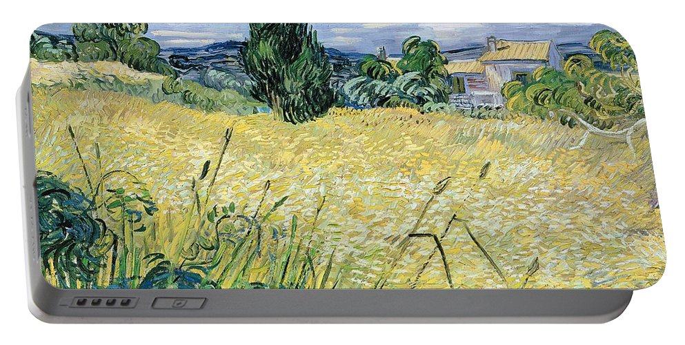 Vincent Van Gogh Portable Battery Charger featuring the painting Landscape with Green Corn by Vincent Van Gogh