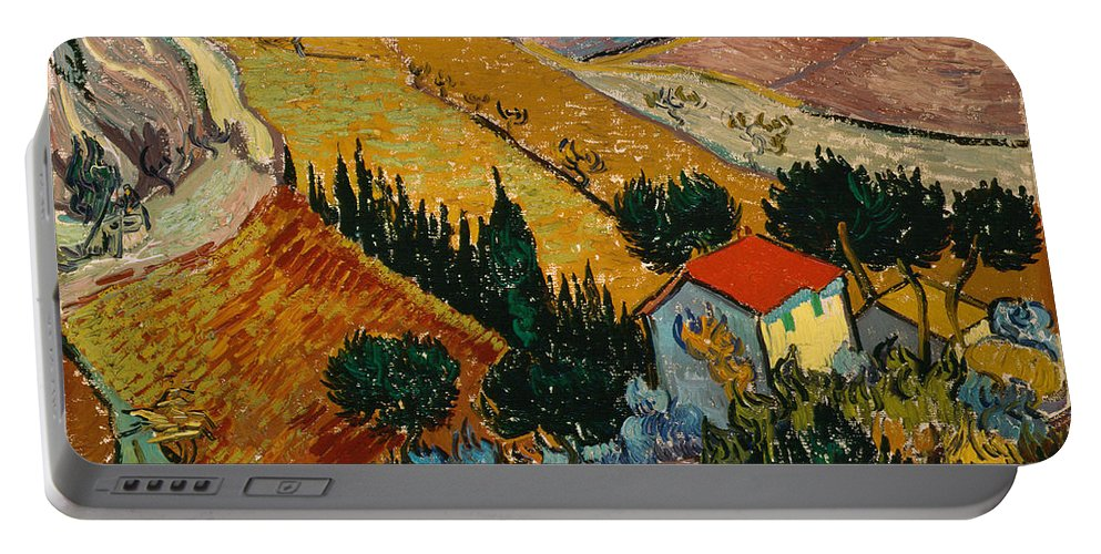 Van Gogh Portable Battery Charger featuring the painting Landscape With House And Ploughman by Van Gogh