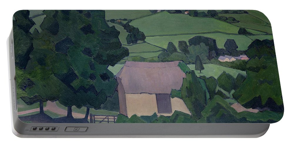 Landscape Portable Battery Charger featuring the painting Landscape With Thatched Barn by Robert Polhill Bevan