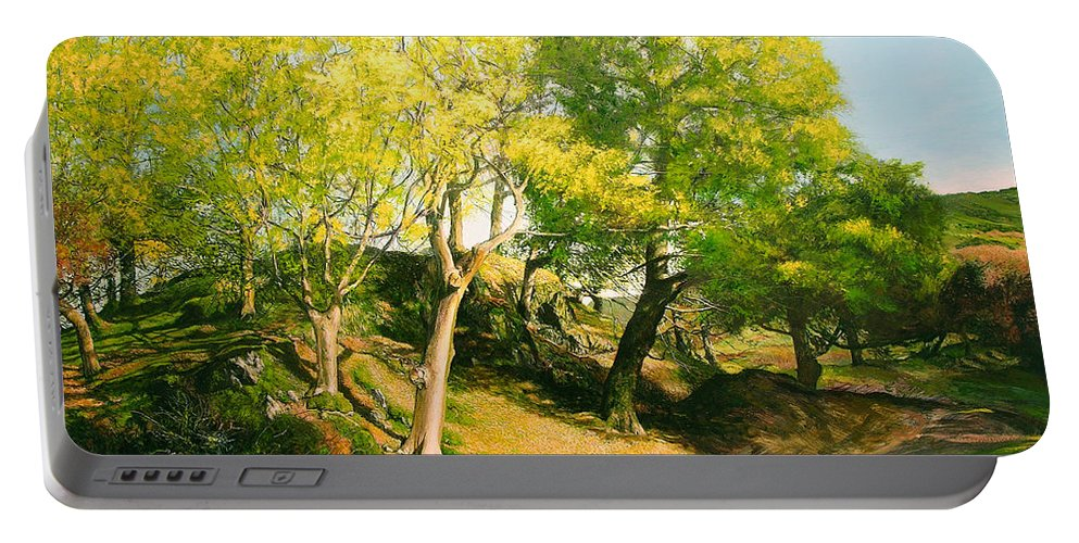 Landscape Portable Battery Charger featuring the painting Landscape With Trees In Wales by Harry Robertson