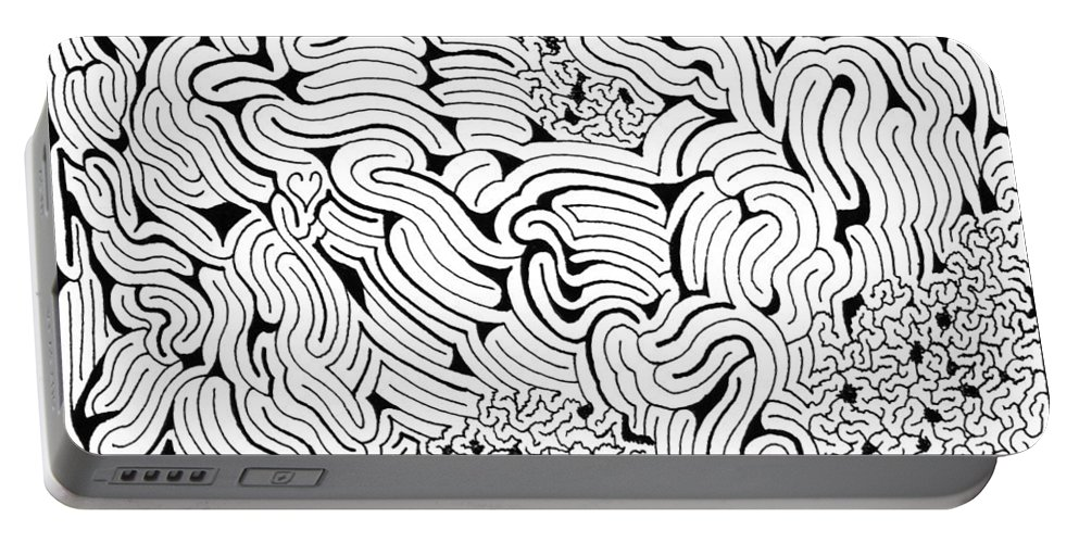 Mazes Portable Battery Charger featuring the drawing Languid by Steven Natanson
