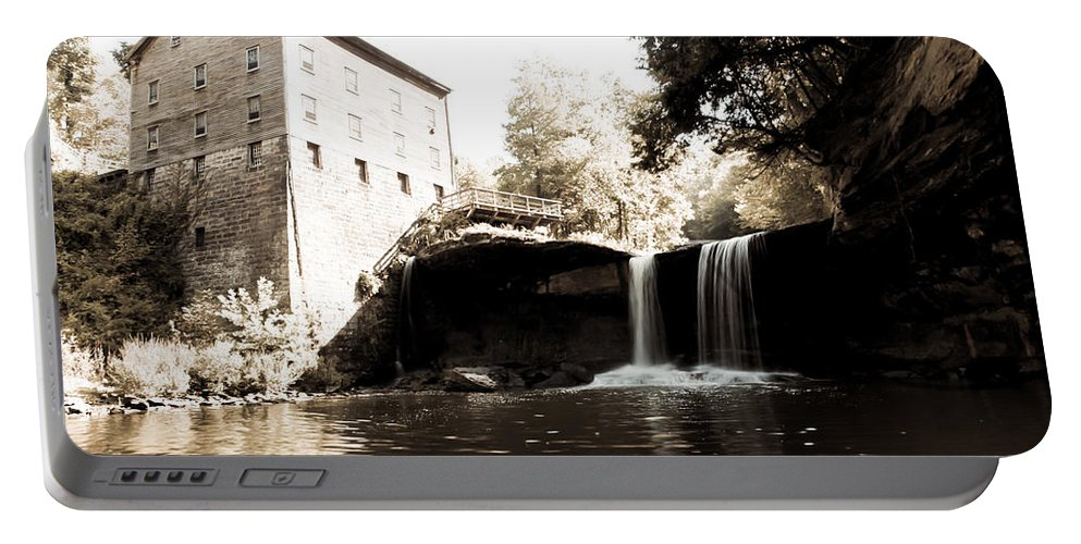 Lantermans Mill Youngstown Ohio Millcreek Park Waterfall River Sepia Portable Battery Charger featuring the photograph Lantermans Mill by Jimmy Taaffe