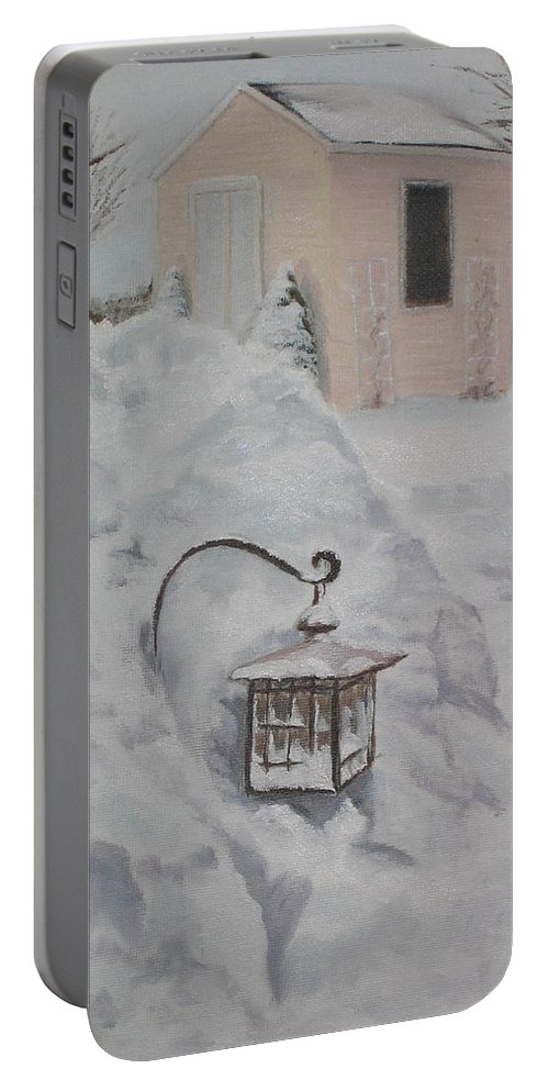Snow Portable Battery Charger featuring the painting Lantern In The Snow by Lea Novak