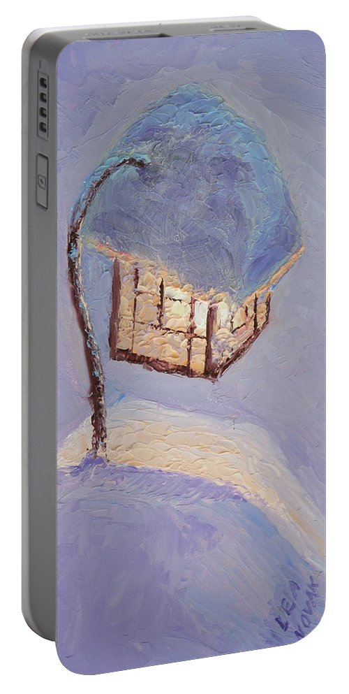 Lantern Portable Battery Charger featuring the painting Lantern Light On A Snowy Evening by Lea Novak