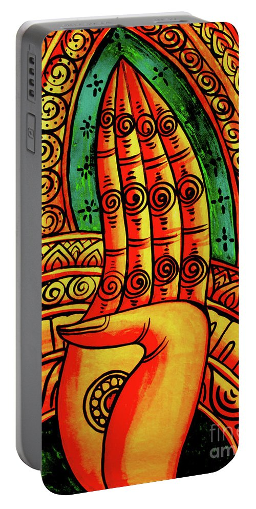 Laos Portable Battery Charger featuring the painting Offering, Lao Collection by Jeffery Waz