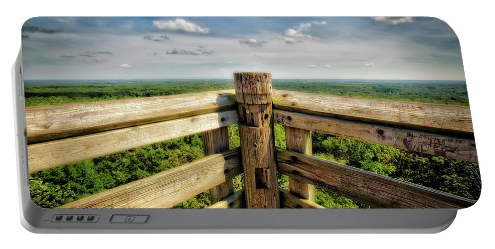 Jennifer Rondinelli Reilly Portable Battery Charger featuring the photograph Lapham Peak Wisconsin - View From Wooden Observation Tower by Jennifer Rondinelli Reilly - Fine Art Photography