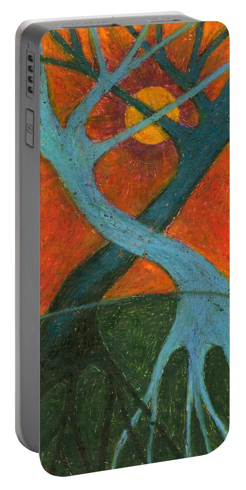 Colour Portable Battery Charger featuring the painting Lapse by Wojtek Kowalski