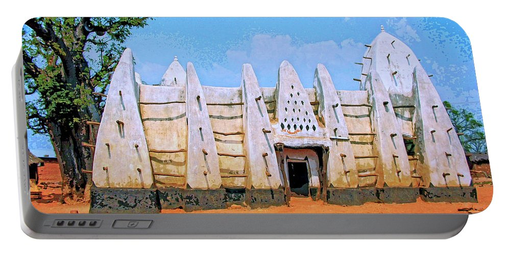 Africa Portable Battery Charger featuring the mixed media Larabanga Mosque by Dominic Piperata