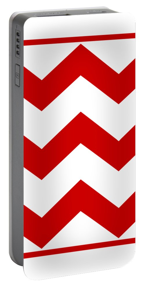 Large Chevron Portable Battery Charger featuring the digital art Large Chevron With Border In Red by Custom Home Fashions