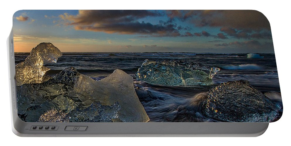 Beach Portable Battery Charger featuring the photograph Large Icebergs At Dawn #4 - Iceland by Stuart Litoff
