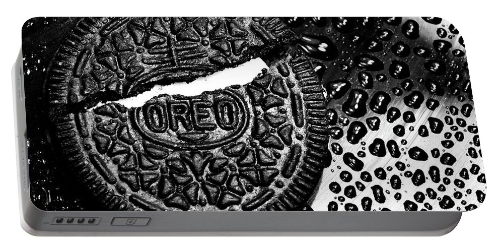 Cookie Portable Battery Charger featuring the photograph Large Oreo Black And White by Nancy Mueller