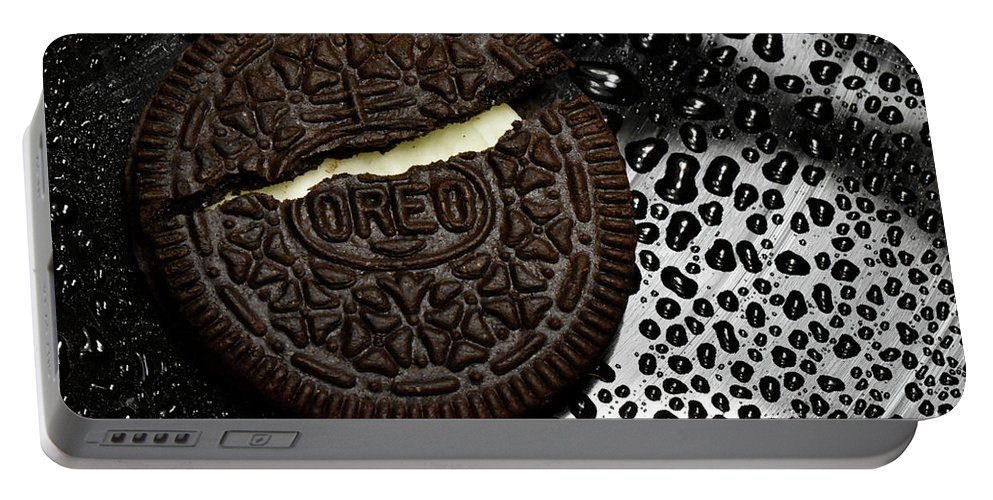 Cookie Portable Battery Charger featuring the photograph Large Oreo Cookie 1 by Nancy Mueller