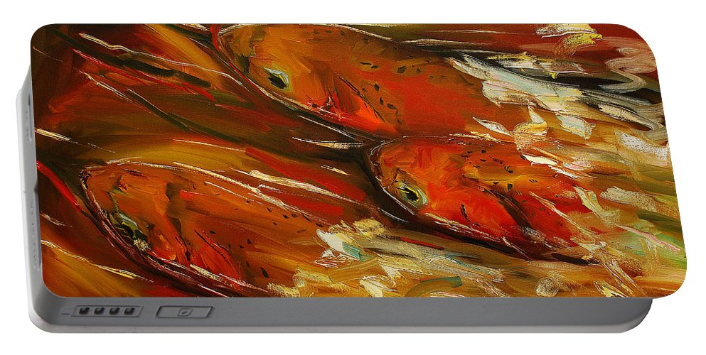 Trout Portable Battery Charger featuring the painting Large Trout Stream Fly Fish by Diane Whitehead