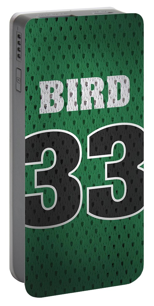 Larry Bird Portable Battery Charger featuring the mixed media Larry Bird Boston Celtics Retro Vintage Jersey Closeup Graphic Design by Design Turnpike