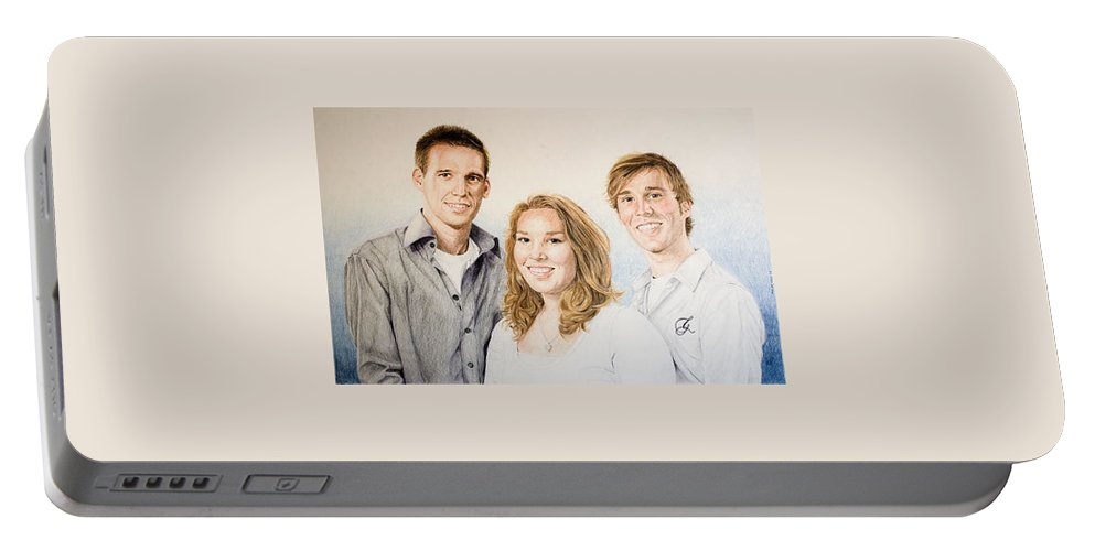 Portrait Portable Battery Charger featuring the drawing Lars Niels And Ilse by Rob De Vries