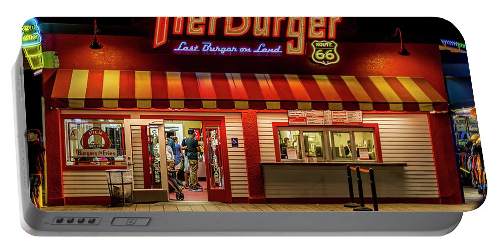 Santa Monica Pier Portable Battery Charger featuring the photograph Last Burger On Land by Gene Parks