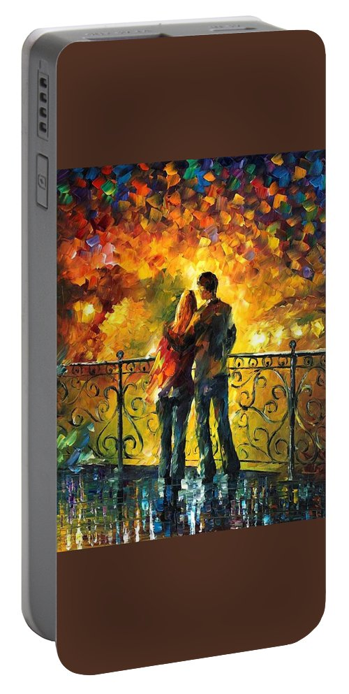Afremov Portable Battery Charger featuring the painting Last Date by Leonid Afremov